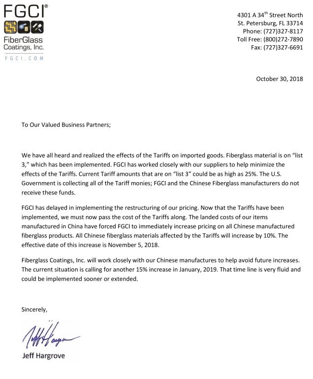 Tariff letter