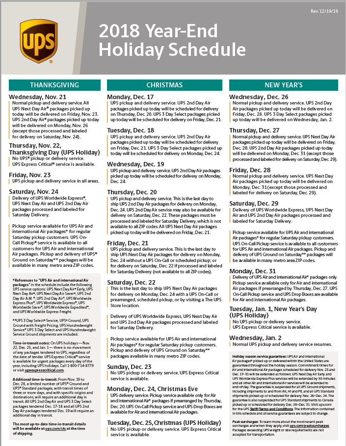 UPS 2018 Holiday schedule – Fiberglass Coatings